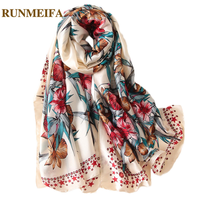 [RUNMEIFA] 2018 New Fashion <font><b>silk</b></font> <font><b>Scarf</b></font> Women Summer beach shawls and wraps 4 Color <font><b>Scarf</b></font> <font><b>180*90cm</b></font> Female Soft Comfortable image