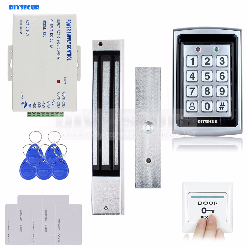 DIYSECUR RFID Metal Case Keypad Door Access Control Security System Kit + 280kg Magnetic Lock + Exit  Button 7612 diysecur 280kg magnetic lock 125khz rfid password keypad access control system security kit exit button k2