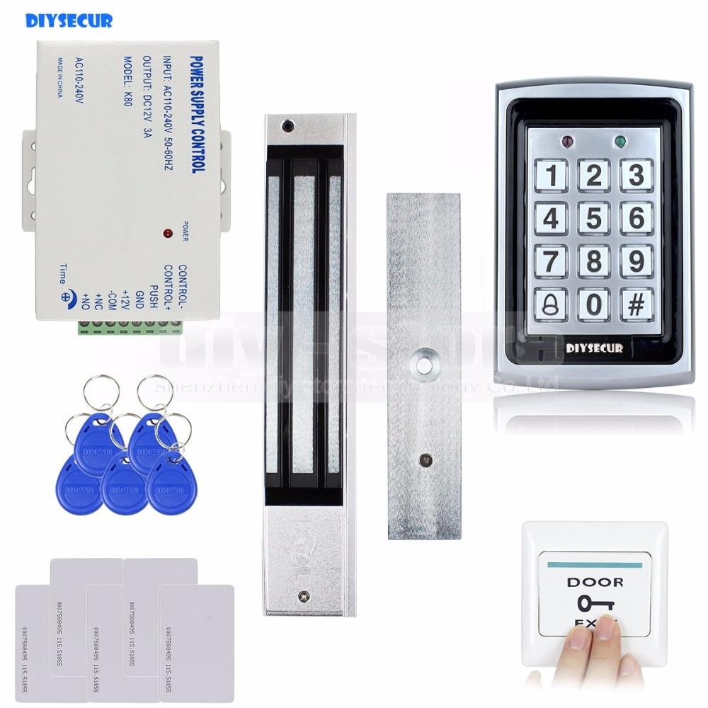 DIYSECUR RFID Metal Case Keypad Door Access Control Security System Kit + 280kg Magnetic Lock + Exit Button 7612