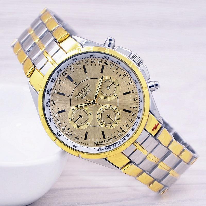 все цены на 2017 fashion ROSRA men's watch gold plated quartz sports watches men luxury brand erkek kol saati relogio masculino в интернете