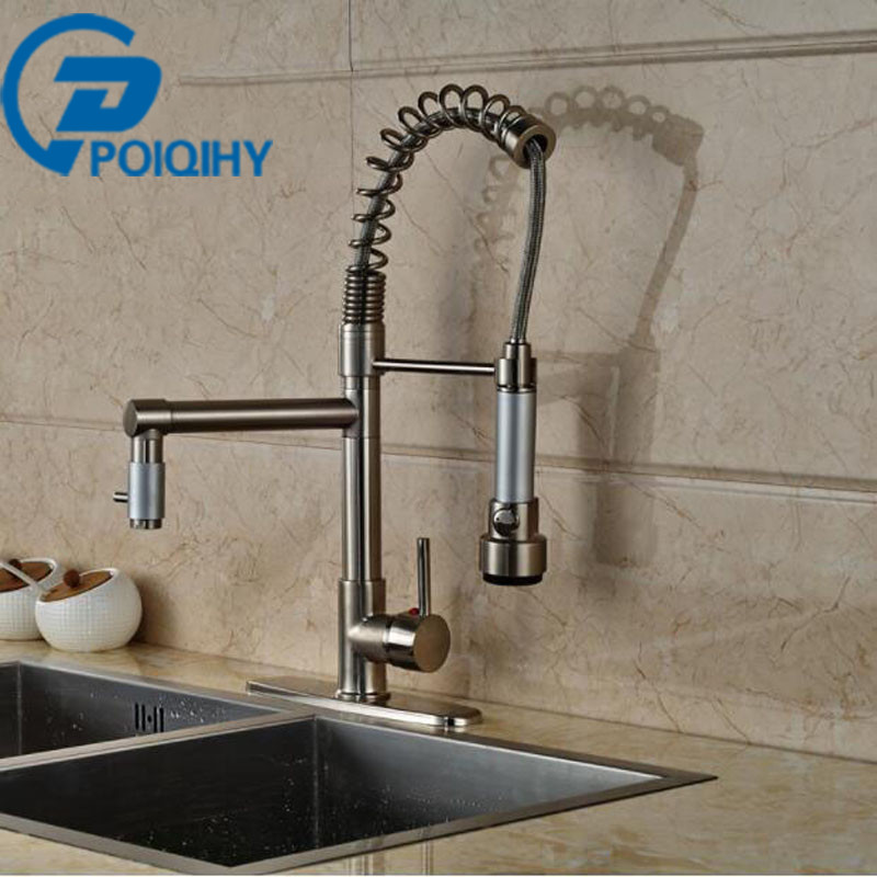 Single Handle Kitchen Faucet LED Light Deck Mount Brushed Nickel Mixer Taps + 8 Hole Cove Dual Rotation Spout Kitchen Faucet bellamica высокие кеды и кроссовки