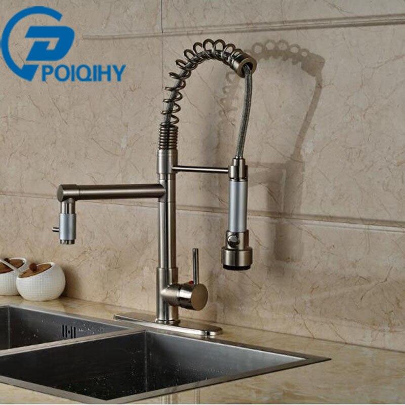 Single Handle Kitchen Faucet LED Light Deck Mount Brushed Nickel Mixer Taps + 8 Hole Cove Dual Rotation Spout Kitchen Faucet
