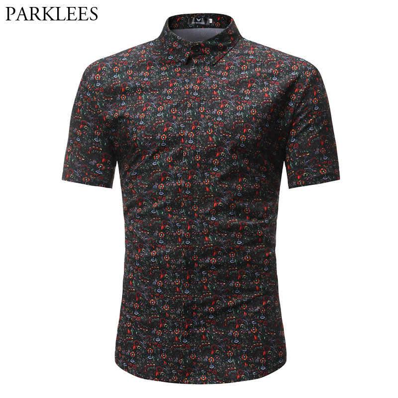 Мужская хипстерская летняя гавайская рубашка 2018 Модная рубашка с цветочным принтом и коротким рукавом мужская приталенная Повседневная брендовая рубашка Chemise Homme