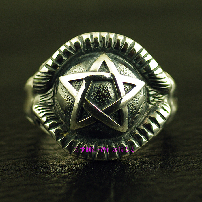 Thailand imports, 925 silver five pointed star Satan seal ring thailand imports skull blood new skeleton silver ring