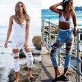 Con Estilo de las mujeres Ripped Engaste Salvaje Sexy Mediados de Subida Destruido Jeans Recortadas