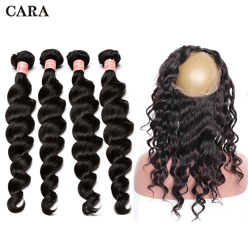 360 Lace Frontal With Bundle Brazilian Virgin Hair Extension 4 Pcs Loose Wave Bundles 360 Lace Frontal Closure CARA Hair