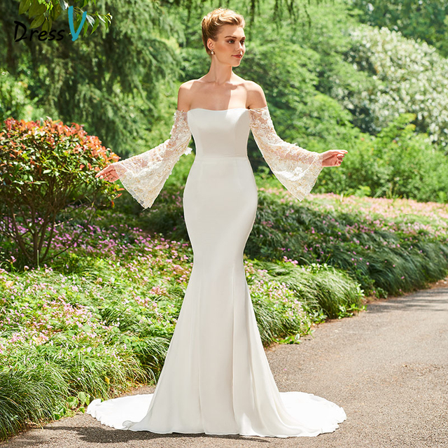 Dressv ivory wedding dress off the shoulder long sleeves mermaid ...