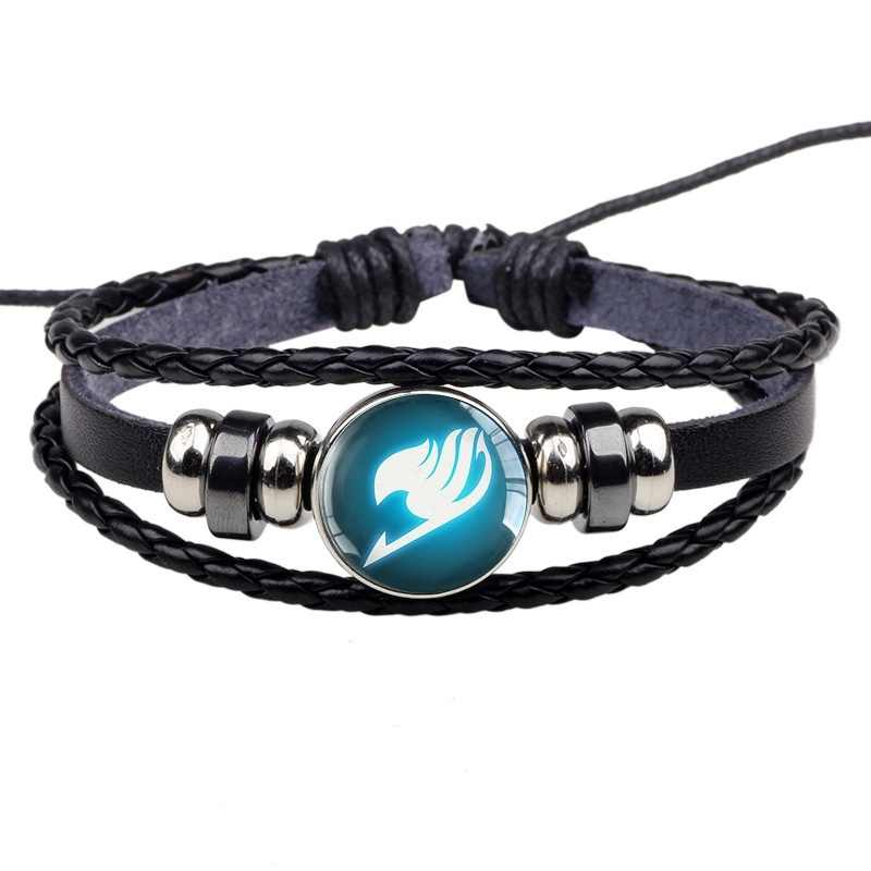 שחור עור צמיד צמידי פיות זנב צמיד אגודה לוגו זכוכית קרושון אנימה תכשיטי מתנה עבור אנימה קוספליי מאהב מתנות