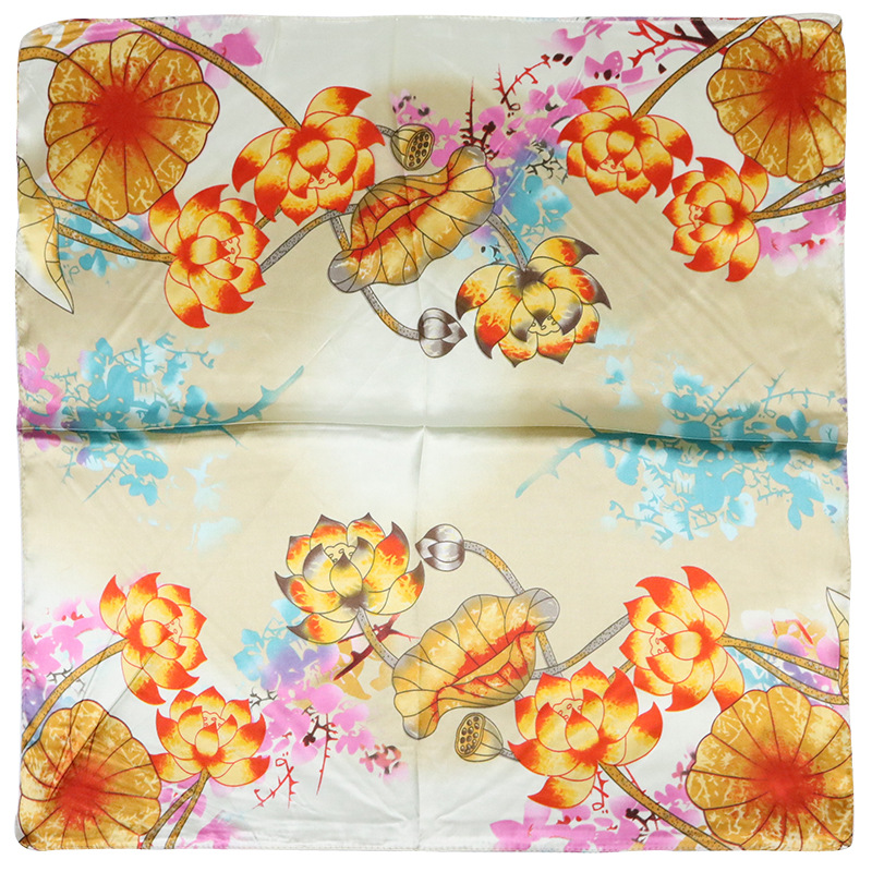 2019 Fall New Fashion Lotus Print Silk Scarf For Women Soft Neckerchief Small Bandana Square Scarves Lady Accessories in Women 39 s Scarves from Apparel Accessories