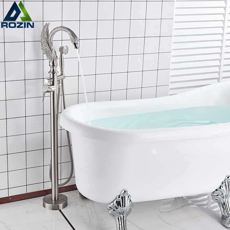 swan shape bathtub faucet freestanding bathroom bath tub mixer tap single handle with handshower floor mounted bath shower tap