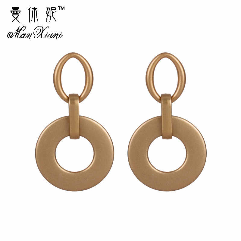 New Punk Heavy Metal Dangle Indian Gold Silver Drop Earring ZA Geometric Statement Earrings For Women African Dubai Jewelry New