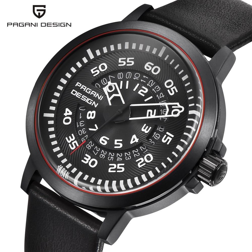 PAGANI DESIGN Top Luxury Brand Mens Watches Unique Hollow Calendar Waterproof Leather Quartz Watch Men Relogio Masculino S