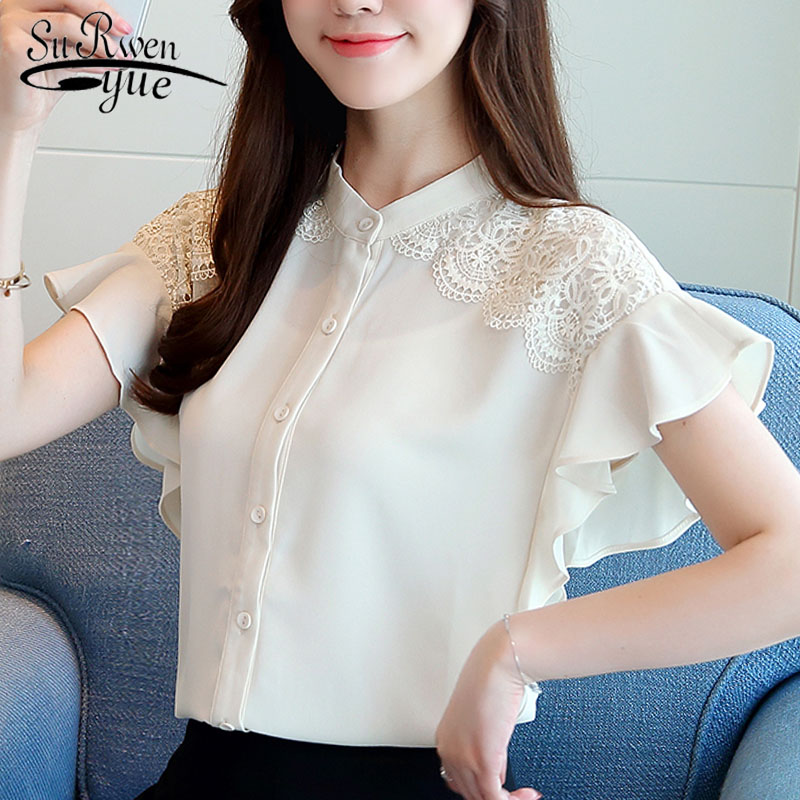 fashion women   blouses   2019 short sleeve summer tops solid lace chiffon   blouse     shirt   womens tops and   blouses   women   shirts   2643 50
