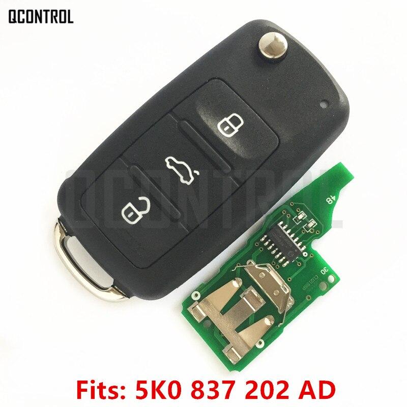 QCONTROL 5K0 837 202 AD Funkschlüssel für VW/VOLKSWAGEN 5K0837202AD Käfer/Caddy/Eos/Golf/Jetta/Polo/Scirocco/Tiguan/Touran/UP