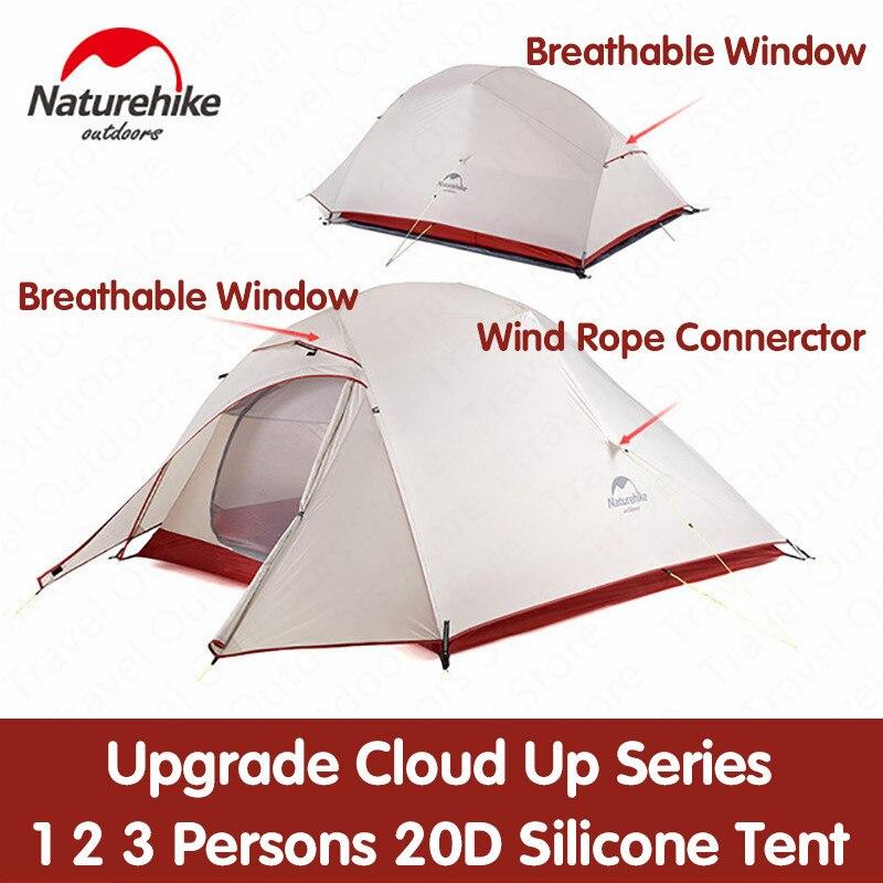 Nature tente randonnée mise à niveau nuage Up série 1 2 3 personnes 20D Silicone Double couche aluminium pôle ultra-léger Camping tente NH17T001-T