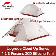 Naturehike палатка обновления облако до серии 1 2 3 человек 20D Силиконовые двойной алюминиевый слой полюс Сверхлегкий Кемпинг палатка NH17T001-T