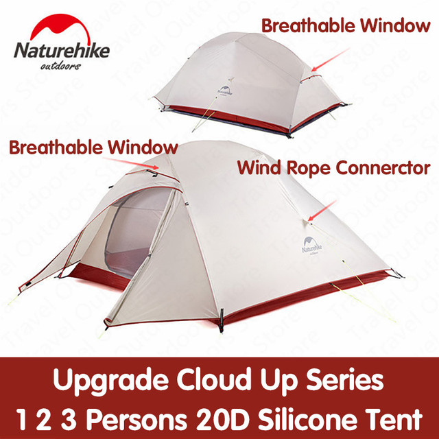 Naturehike Tent Upgrade Cloud Up Series 1 2 3 Persons 20D Silicone Double layer Aluminum Pole Ultralight Camping Tent NH17T001-T