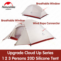 Naturehike Tent Upgrade Cloud Up Series 1 2 3 Persons 20D Silicone Double layer Aluminum Pole Ultralight Camping Tent NH17T001 T