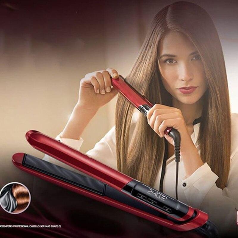 Professional Hair Straightener Ceramic Flat Iron Straightening Iron 2 in 1 hair Curler Silk curling irons LCD Styling Tools цена 2017