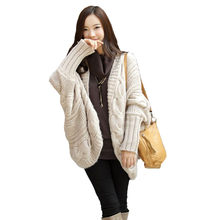 4c97bce81c (Ship from US) Autumn Winter Knitted Cardigans Coat Women 2018 Fashion Long  Sleeve 73cm Batwing Poncho Sweater Womans Crochet Keep warm morning
