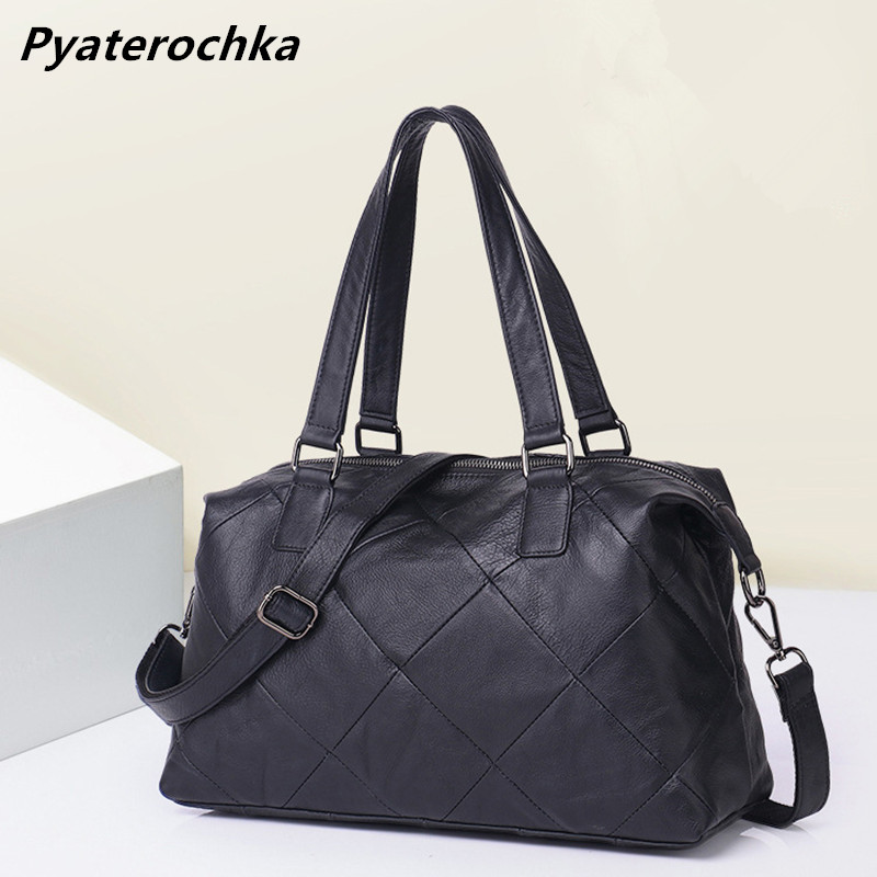 Crossbody Bags For Women Versatile Casual Shoulder Handbags Zipper Solid Diamond Lattice Bag Genuine Leather Soft Ladies Bag