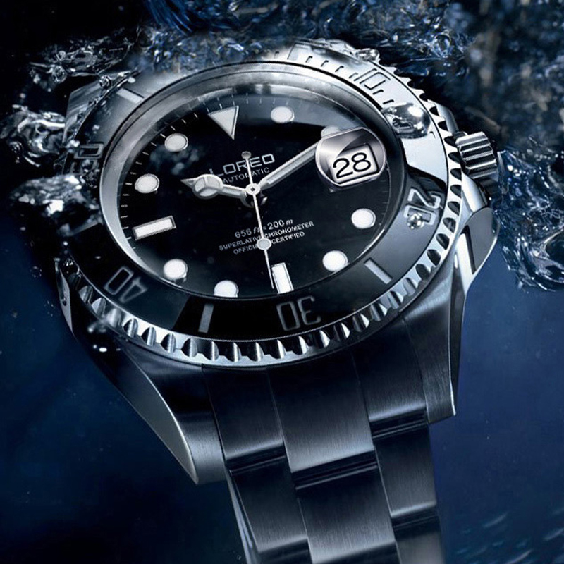 LOREO Men Watches Mechanical Automatic-Watch Diving Waterproof 200m Stainless-Steel Luminous