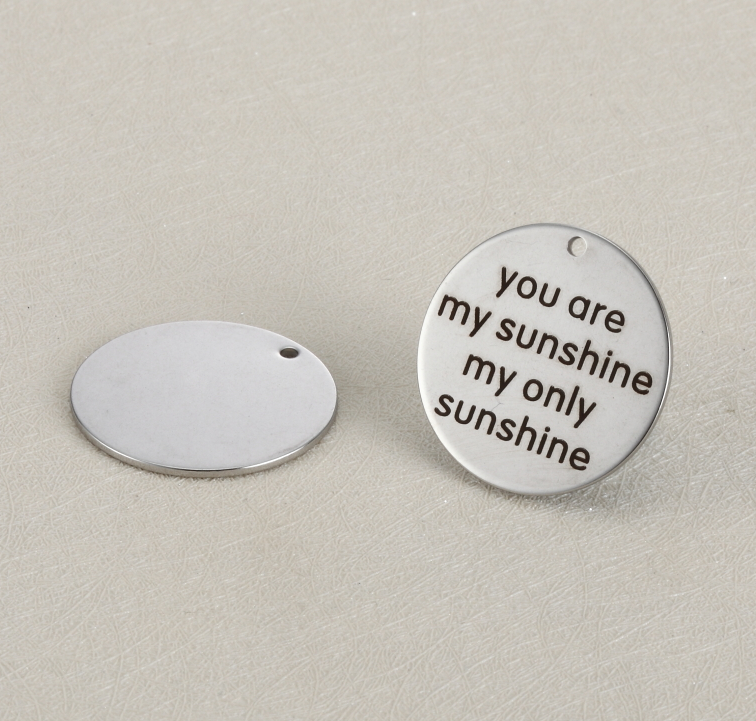 20pcs/lot 25mm Stainless Steel Charms Engraved You Are My Sunshine My Only Sunshine  For Diy Jewellery Making