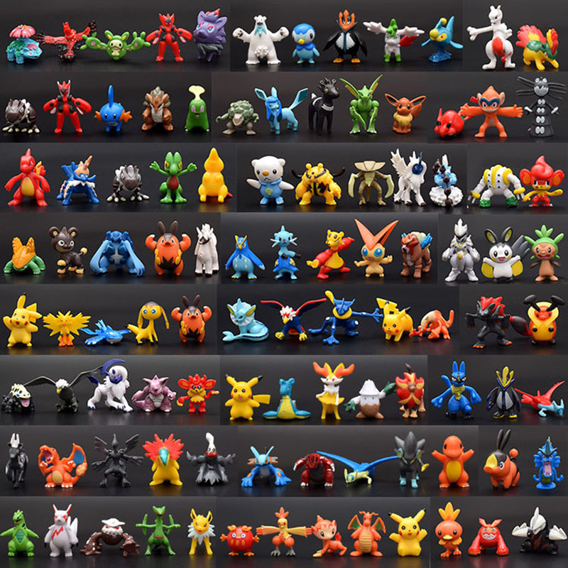 Wholesale 432pcs/288pcs/144pcs Cartoon 2-3cm Pokemon Action Figure Pikachu Figures Bulbasaur Blastoise Charmander Model