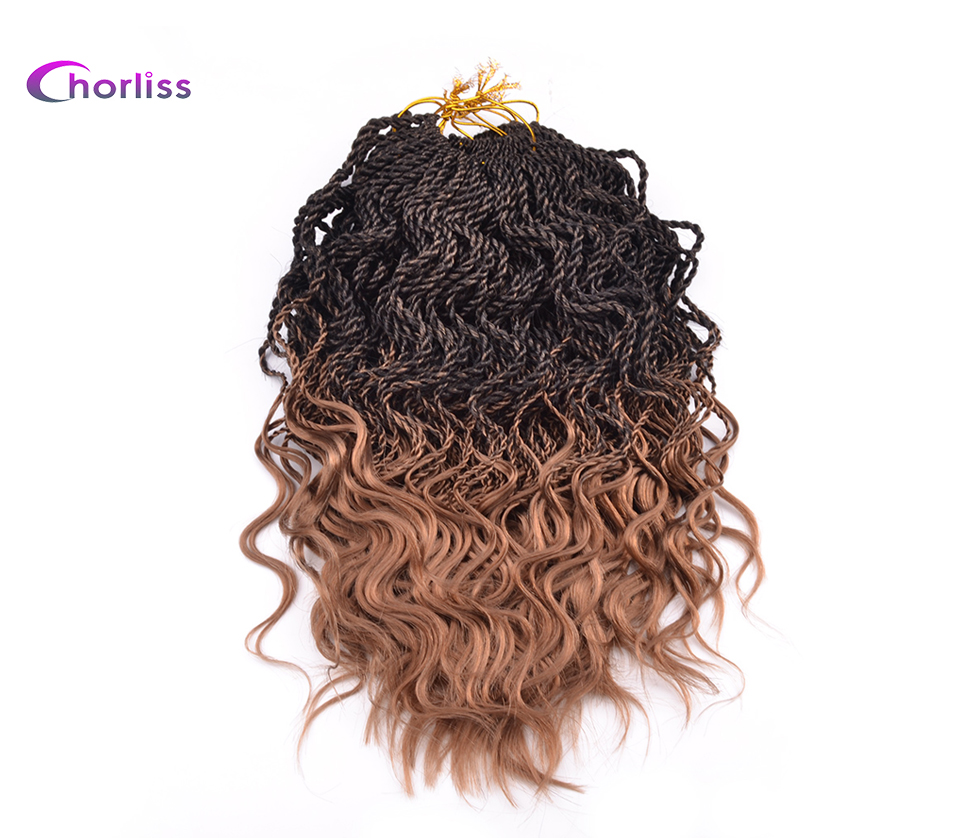 Chorliss 14 Curly Senegalese Crochet Braids Twist 35 Roots Pack Ombre Synthetic Pre twist Braiding Hair