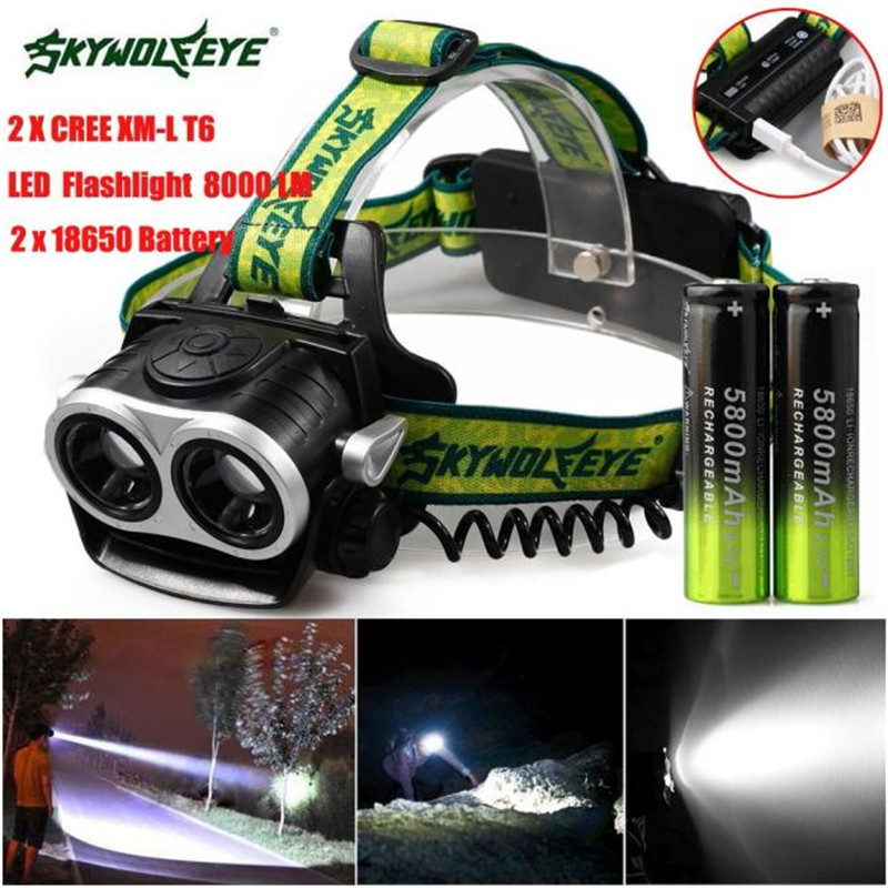 8000LM 2X XM-L Q5 Headlamp Cycling Bicycle Bike Front Headlight Head Light LED Rechargeable USB+18650 Battery Wholesale M20 950lm 3 mode white bicycle headlamp w cree xm l t6 black silver 2 x 18650