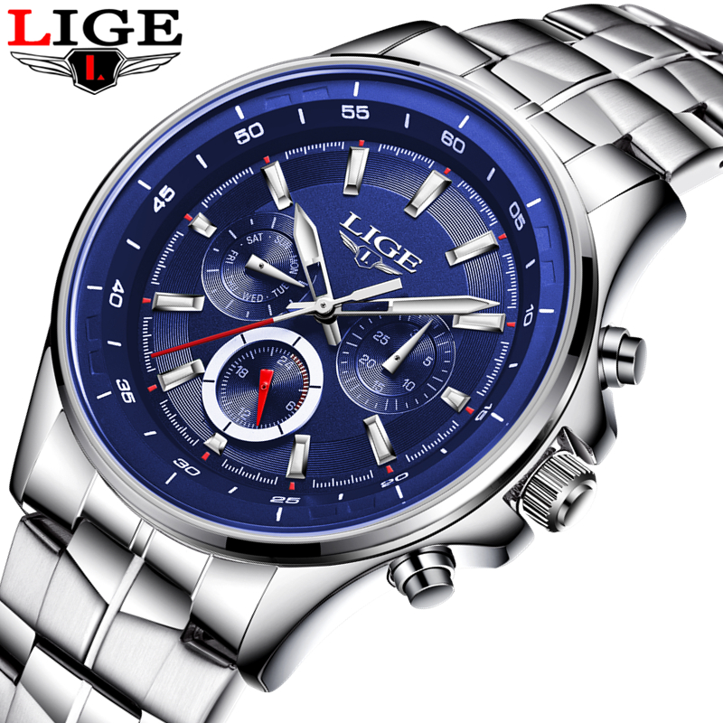 LIGE Men sports Watches Male Fashion Business quartz-watch Men Full Steel Waterproof Clock Man Auto Date Multifunction Watches lige 2017 new men s watches male quartz watch men real three dial luminous waterproof 30m outdoor sports leather watch man clock
