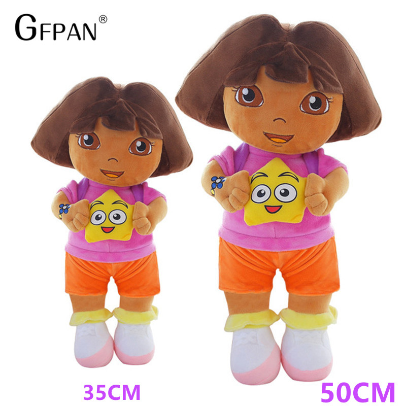 1pc 50cm-35cm Cute Dora Stuffed Plush Toys Genuine Love Adventure Of Dora Dolls TV & Movies Game Doll For Kids Birthday Gift