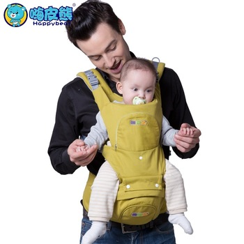 HappyBear Multifunction Baby Carrier Backpack Organic Cotton Breathable Mesh Sling For Newborn Baby Chicco Wrap Rider Canvas gabesy baby carrier ergonomic carrier backpack hipseat