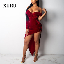 XURU Autumn And Winter New Wine Red Velvet Sexy Nightclub Strapless Wrapped Chest Dress Backless Party Womens