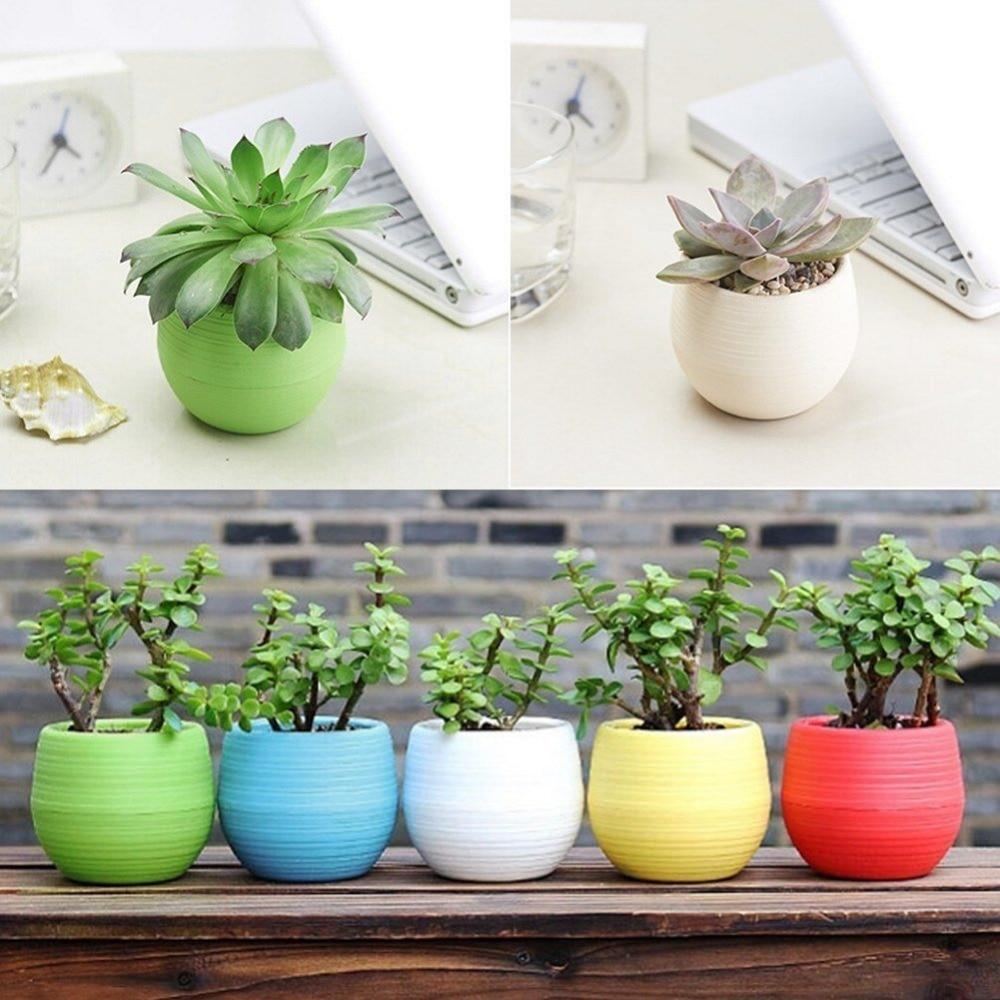 Colourful Round Plastic Plant Flower Pots Home Office Decor Planter ...