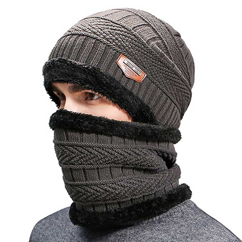 90a1e6a68 US $7.42 35% OFF|Men Winter Slouchy Beanie Hat Scarf Set Women Lined Thick  Knit Skull Cap Thick Warm Wool Knitted Hat and Scarf Winter-in Men's ...