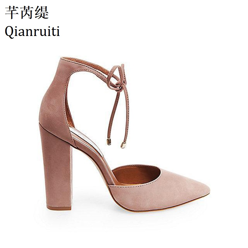 Qianruiti Summer Style Faux Suede Lace-Up Block Heels Shoes Sexy Pointed Toe Women Pumps Ankle Strap High Heels Women ShoesQianruiti Summer Style Faux Suede Lace-Up Block Heels Shoes Sexy Pointed Toe Women Pumps Ankle Strap High Heels Women Shoes