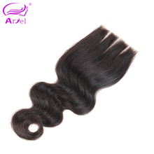 Ariel Brazilian Body Wave Closure 4*4 Three Part 100% Remy Human Hair Lace Closure Natural Color Free Shipping