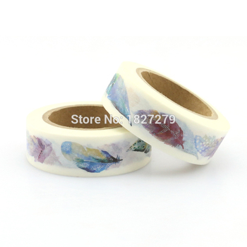 1 roll Flying Feather Decorative Washi Tape DIY Scrapbooking Masking Tape School Office Supply Escolar Papelaria 1 5cm 7m practical series attice line decorative washi tape scotch diy scrapbooking masking craft tape school office supply
