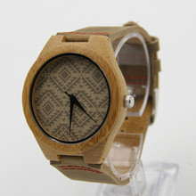 2016 Fashion Natural Bamboo Wooden Watches With Genuine Cowhide Leather Lovers Luxury Wood Watches For Men