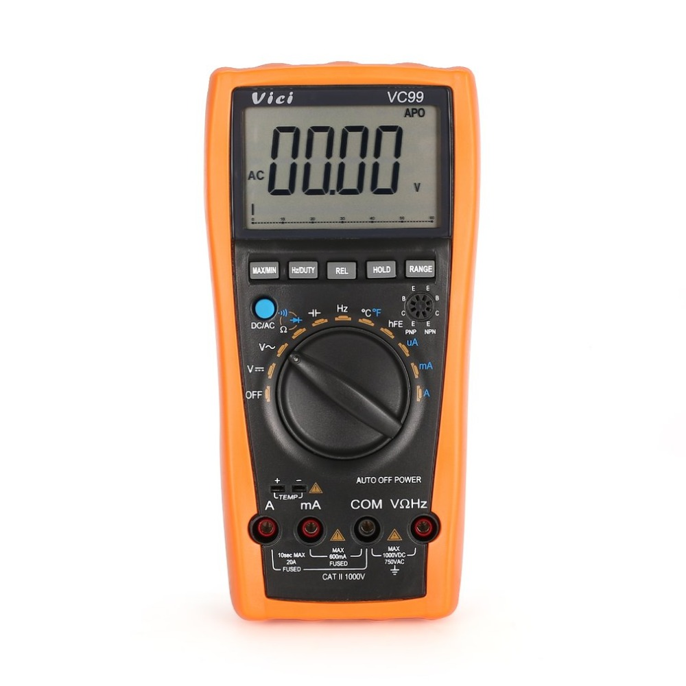 VC99 Digital Multimeter 5999 Counts Auto/Manual Range AC/DC Volt Amp Ohm Capacitance Frequency Temperature Diode Tester цена