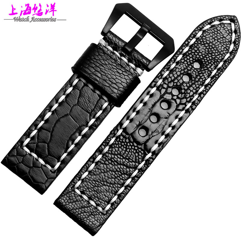 Watch band 24mm26mm New Men Dark Brown and Black Real Genuine Ostrich Skin Leather Watchbands Watch