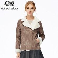 NAKED ZEBRA Winter Women Solid Color Coat Full Sleeve Irregular Collar Warm Windbreaker Fashion Thicken Jacket Coat With Zipper