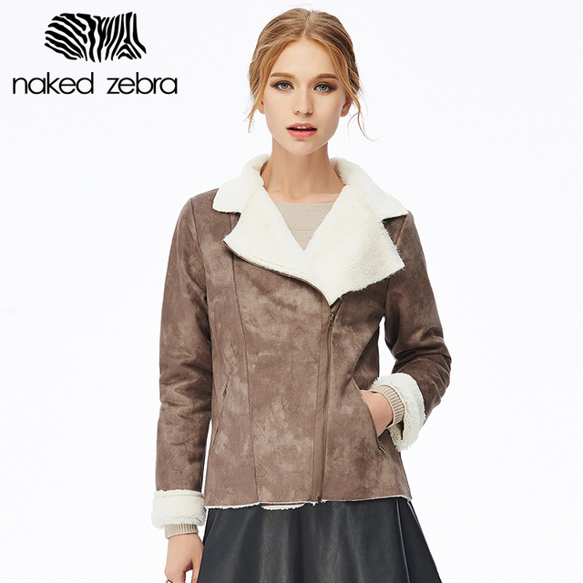 Naked zebra invierno de las mujeres capa de color sólido de la manga completa cuello irregular cazadora caliente moda espesar capa de la chaqueta con cremallera