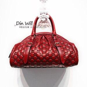 Image 2 - HANSOMFY sac à main en cuir pour femmes, sac à épaule, raviolis exquis gaufrés, sacs faits à la main personnalisé de bonne qualité en daim Fashion