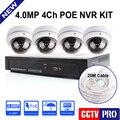 4CH CCTV Sistema NVR 4MP/Kit Com 4 PCS 4.0MP/3MP Outdoor Waterptoof Night-vision 10 M Sistema de Vigilância Câmera Dome IP Com POE