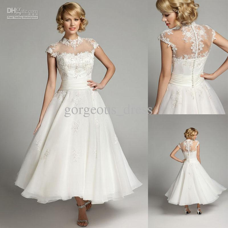 Hot Sale A Line Tea Length Informal Short Wedding Dresses Short ...