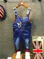 2016 New Arrival Boys & Girls Autumn Solid Denim Jumpsuits Kids Hemming Overalls Children Brand Jeans Pants Infantil 2-7years