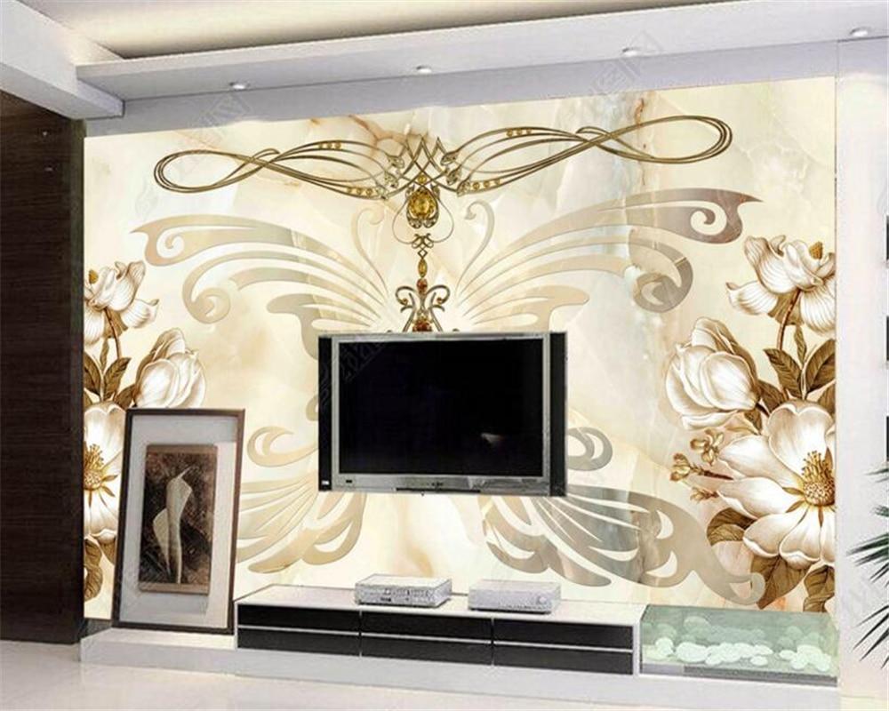 Beibehang Custom wallpaper gray marble royal fly back wall living ...