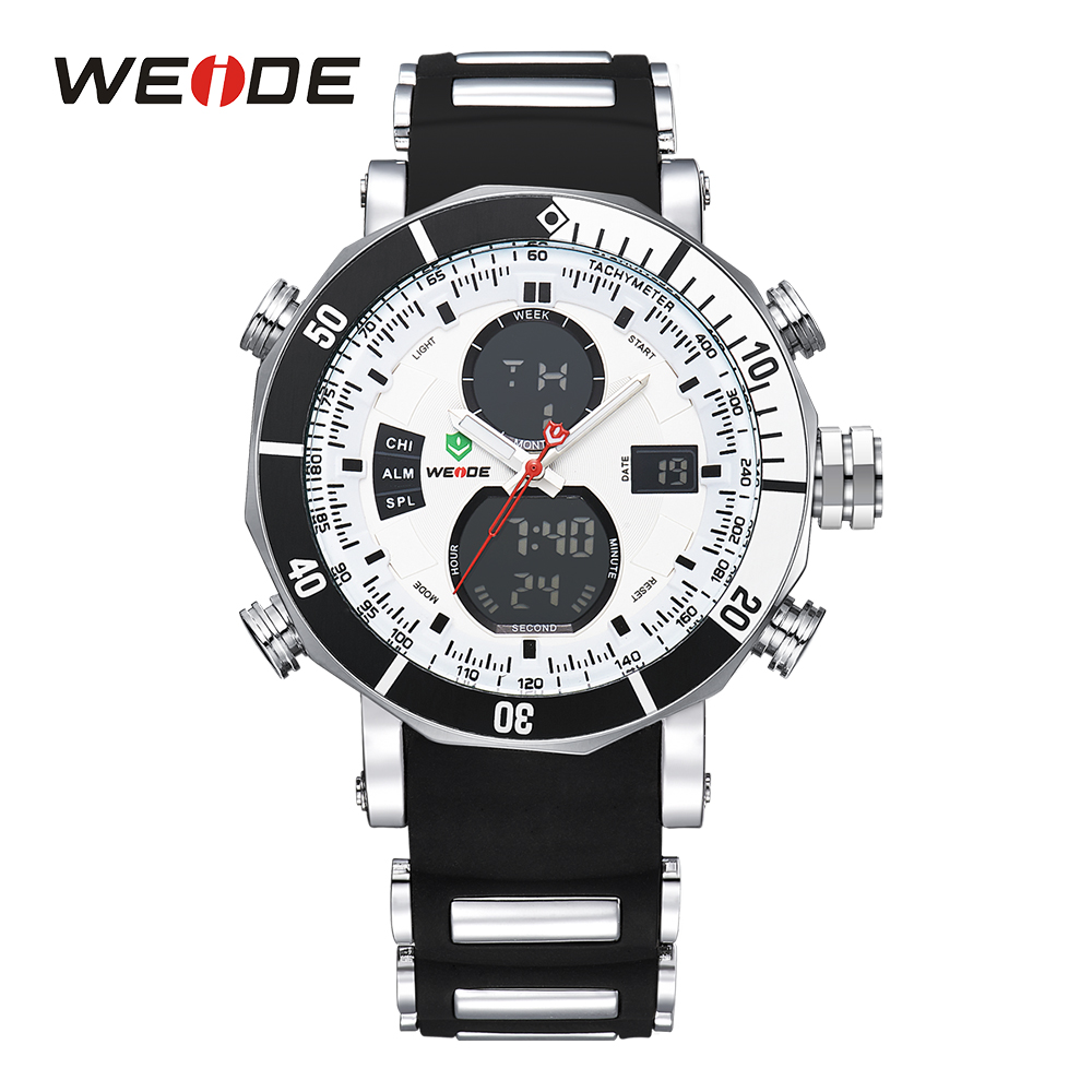 WEIDE Men Sports Watches Stopwatch Date Military Quartz Digital Watch Alarm Dual Time Zones Relogio Masculino Male Clock 2018 цена 2017
